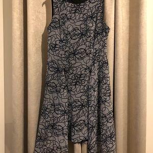DKNY Abstract Floral Handkerchief Hem Dress